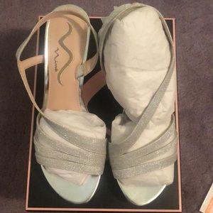 Never worn silver glitter sandal